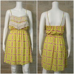 Peach Love CA Yellow Pink Crochet Front Sun Dress